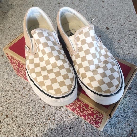 Vans Shoes | Vans Tan Checkered Slip